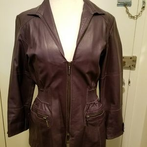 Plum leather cinched waist zip jacket